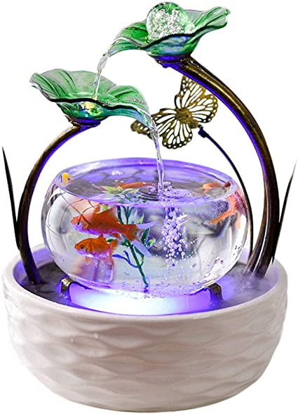 Home Garden Indoor Fountains Desktop Fountain Creative Ceramic White Waterfall Fountain Atomization Humidifier Led Lights Indoor Water Decoration Gifts Tabletop Fountains Amazon Co Uk Kitchen Home