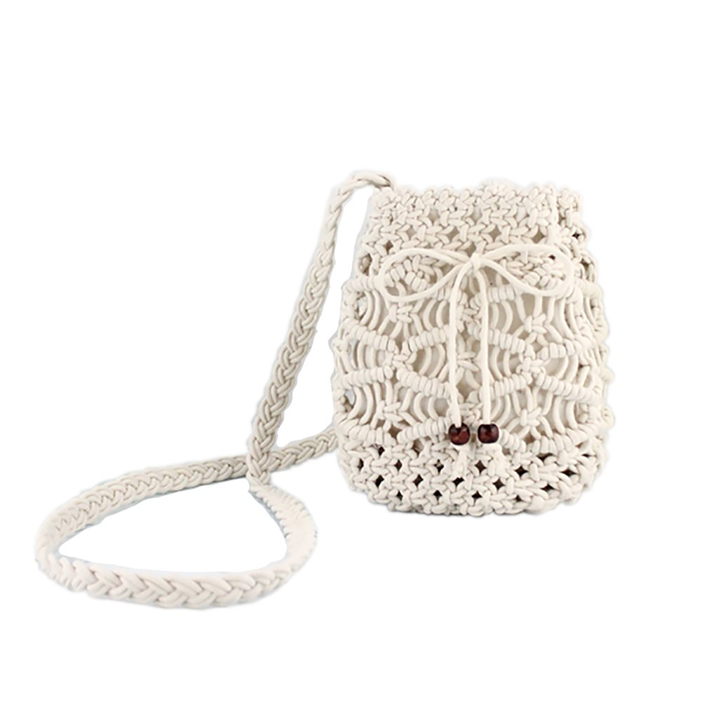 Arcly Cotton Rope Braid Women Weave Shoulder Bag Round Summer Beach Tote Purse and Handbags