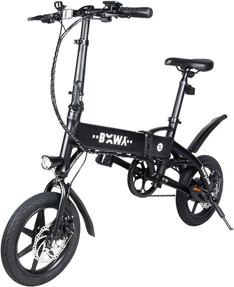 Bicicleta Eléctrica Plegable 14 Pulgada E-Bike 14Kg 240W Motor 36V 4.0Ah Batería de Litio Alimentada para Joven Estudiante (Negro): Amazon.es: Deportes y aire libre
