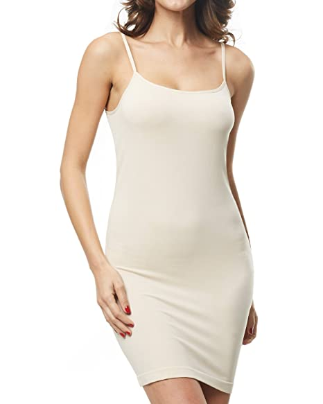 473bf61e1ce KHAYA Women s Spaghetti Straps Straight Dress Long Cami Full Slip Dress  Nude S