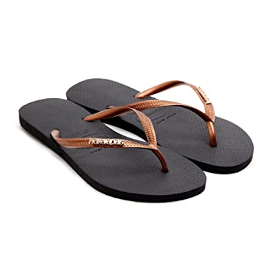 6e9e53100127f7 Havaianas Women Slim Logo Metallic Black Copper Flip Flops Thongs Strap   Amazon.co.uk  Shoes   Bags