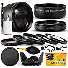 10 Piece Ultimate Lens Package For the Sony Alpha A33 A35 A55 A65 A580 A99 A37 A77 A37 A5000 DSLR-A900 DSLR-A65 DSLR-A77 A100 A700 A350 A200 A300 A350 A290 A330 A330L A390 A390L NEX-7 NEX-3N Camera Includes .43x High Definition II Wide Angle Panoramic Macro Fisheye Lens + 2.2x Extreme High Definition AF Telephoto Lens + Professional 5 Piece Filter Kit (UV, CPL, FL, ND4 and 10x Macro Lens) + Flower Lens Hood + ring adapter + Deluxe Lens Cleaning Kit + LCD Screen Protectors + Mini Tripod +