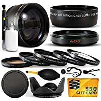10 Piece Ultimate Lens Package For the Sony DSC-H10 DSC-H5 DSC-H3 DSC-H1 DSC-H2 DSC-H5 Digital Camera Includes .43x High Definition II Wide Angle Panoramic Macro Fisheye Lens + 2.2x Extreme High Definition AF Telephoto Lens + Professional 5 Piece Filter Kit (UV, CPL, FL, ND4 and 10x Macro Lens) + Flower Lens Hood + Deluxe Lens Cleaning Kit + LCD Screen Protectors + Mini Tripod + 47stphoto Microfiber Cloth Photo Print !