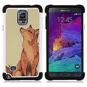 "Hypernova Híbrido Heavy Duty armadura cubierta silicona prueba golpes Funda caso resistente Para Samsung Galaxy Note 4 IV / SM-N910 [Lindo Dibujo Red Inteligente Naturaleza""]"