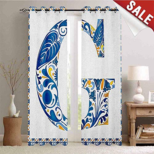 Hengshu Letter G Customized Curtains Flower Letter G Natural Elements in Blue Tones Alphabet European Culture Blackout Window Curtain W84 x L108 Inch Blue Yellow Orange