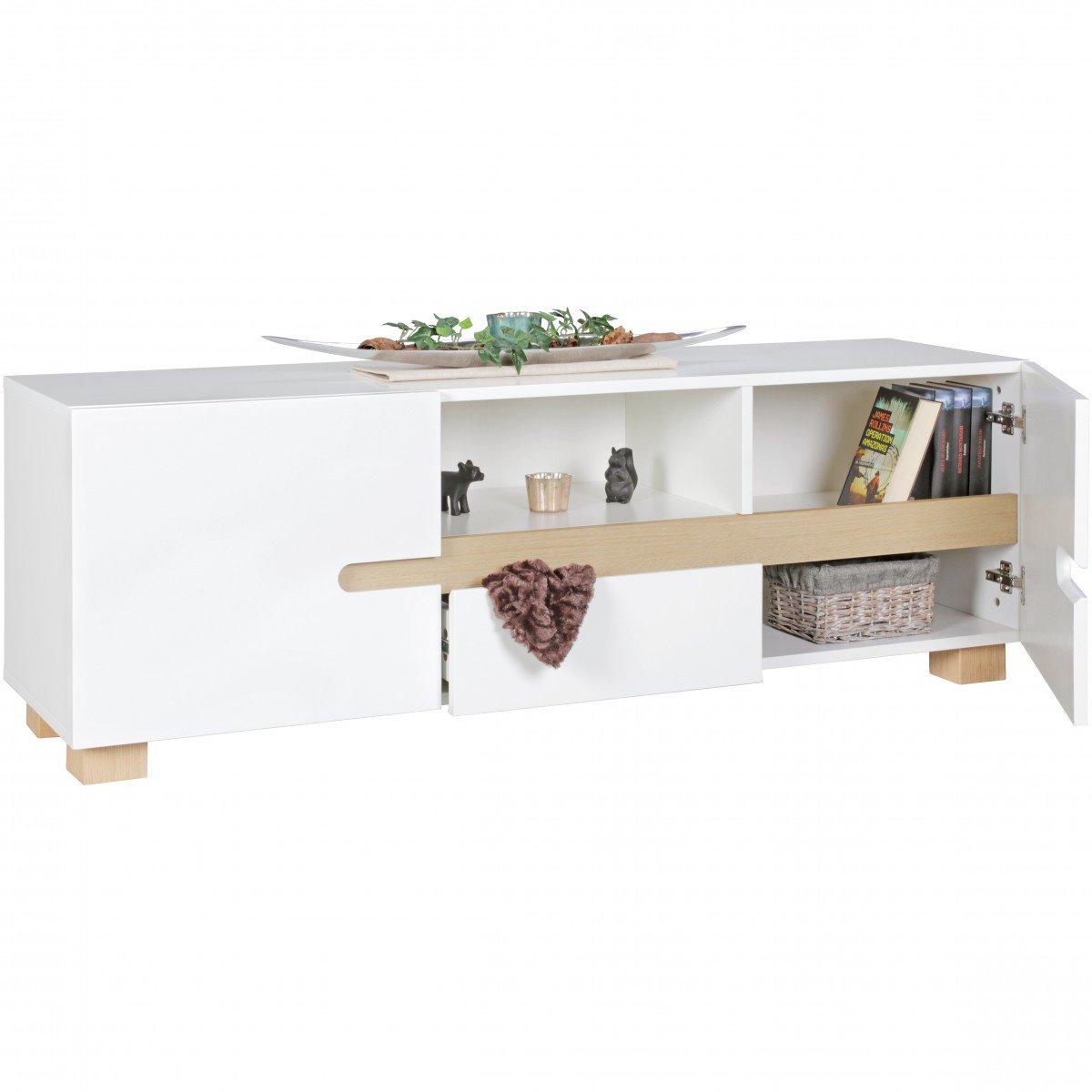FineBuy Niedrigboard SCANIO 150 x x x 52 x 42 cm weiß skandinavisch Holz HiFi Regal   Design Retro TV Board mit Schublade & Türen   Fernseher-Kommode mit Eiche-Beinen bbe139