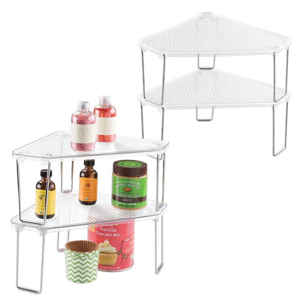 mDesign étagère d'angle cuisine (lot de 4) – système de rangement polyvalent pour armoire, comptoir de cuisine – étagère cuisine plastique & métal pour couverts, conserves, etc. – transparen