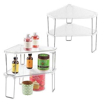 Mdesign étagère D Angle Cuisine Lot De 4 Système De Rangement Polyvalent Pour Armoire Comptoir De Cuisine étagère Cuisine Plastique Métal
