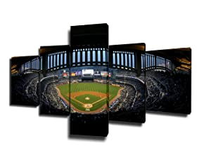 Sports Room Decorations New York Yankee Stadium Paintings Major League Baseball (MLB) Pictures 5 Piece Canvas Wall Art Home Decor for Living Room Framed Gallery-wrapped Ready to Hang (50''Wx24''H)