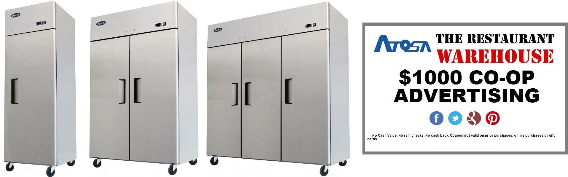 Atosa 78-Inch Three Door Upright Freezer and $1000 Restaurant Advertising Credit