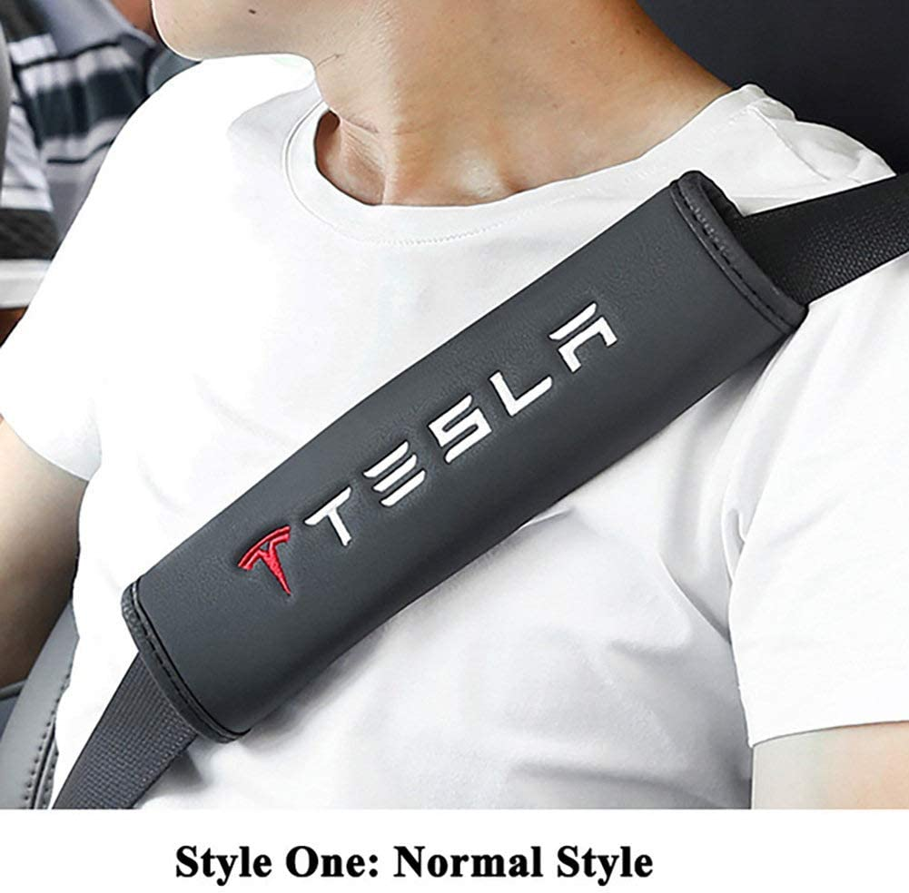2 Pezzi in Fibra di Carbonio Sportivo per Tesla Model S Model X Model 3 Car Styling B Copri Cintura di Sicurezza per Cintura di Sicurezza AniFM