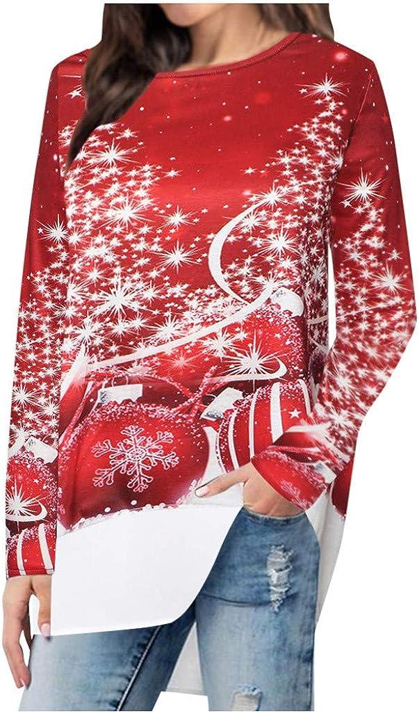 Mittellange Damenpullover mit Kapuze und Langen /Ärmeln Weihnachtskleid Party Kleider Weihnachts Kost/üM Drucken Oberteil Langarmshirt L/äSsig Sweatshirt Fr/üHling Herbst Winter Shirts