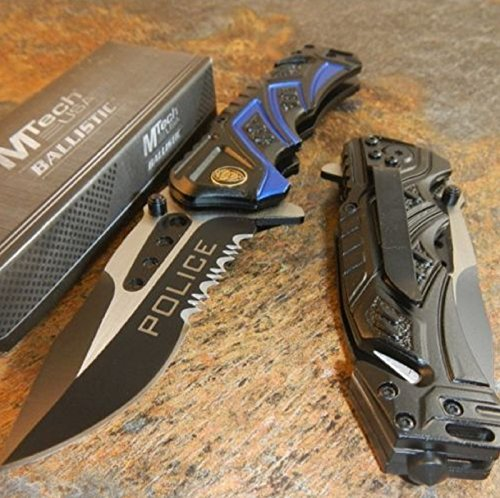 NEW ARRIVALl!!! BALLISTIC Assisted Opening Rescue POLICE BLACK Glass Breaker RESCUE Knife]()