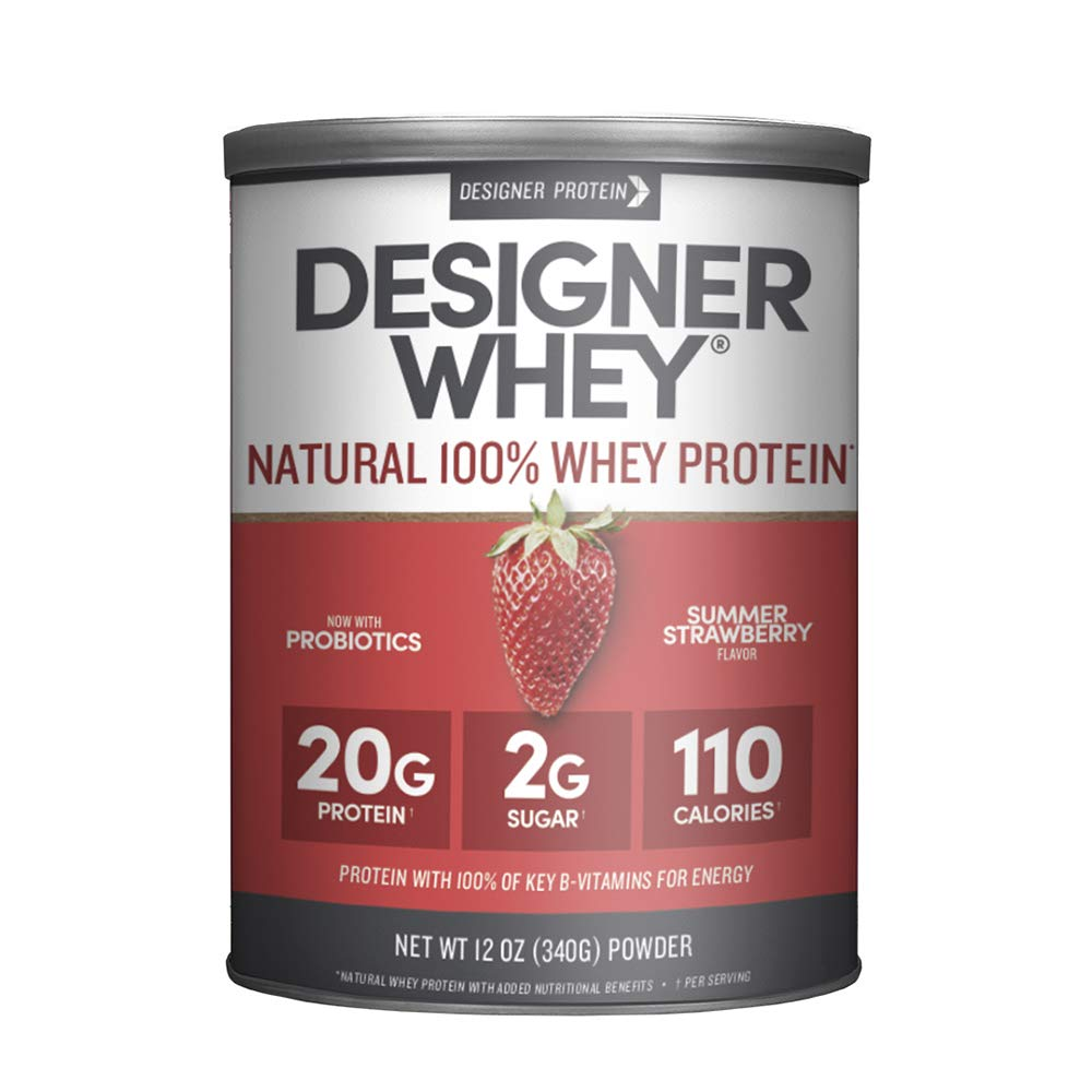 Designer Whey Protein Powder, Summer Strawberry, 12 Ounce, Non GMO