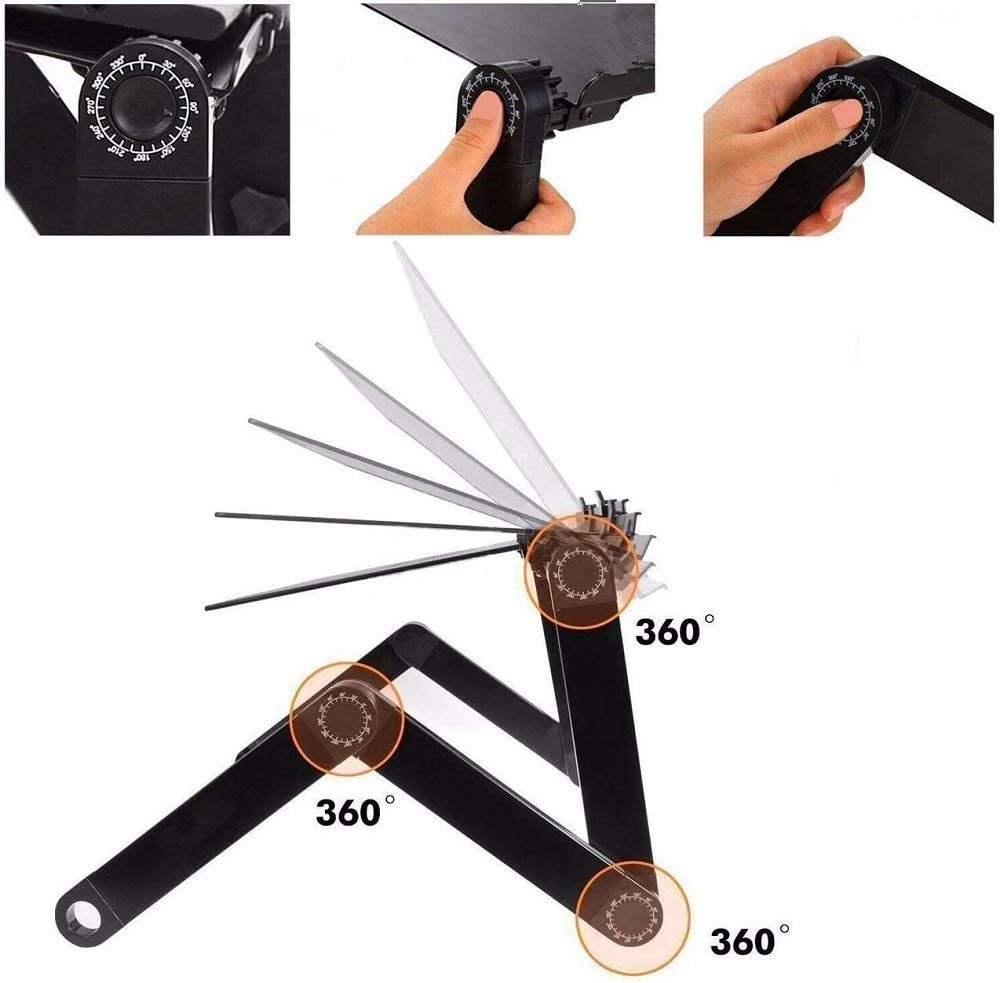 MINNET Folding Laptop Desk Universal Multifunctional Portable Stand Foldable Desk Table Adjustable Black Riser Ergonomic with Mouse Tray /& Anti-Slip Bar