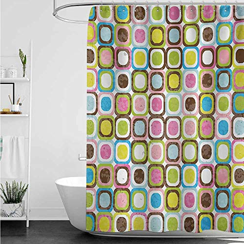 - home1love Bathroom Curtains,Retro Abstract Grunge Background with Geometric Cubes Inner Circles Artful Graphic Design,Bathroom Curtain Washable Polyester,W47x63L,Multicolor