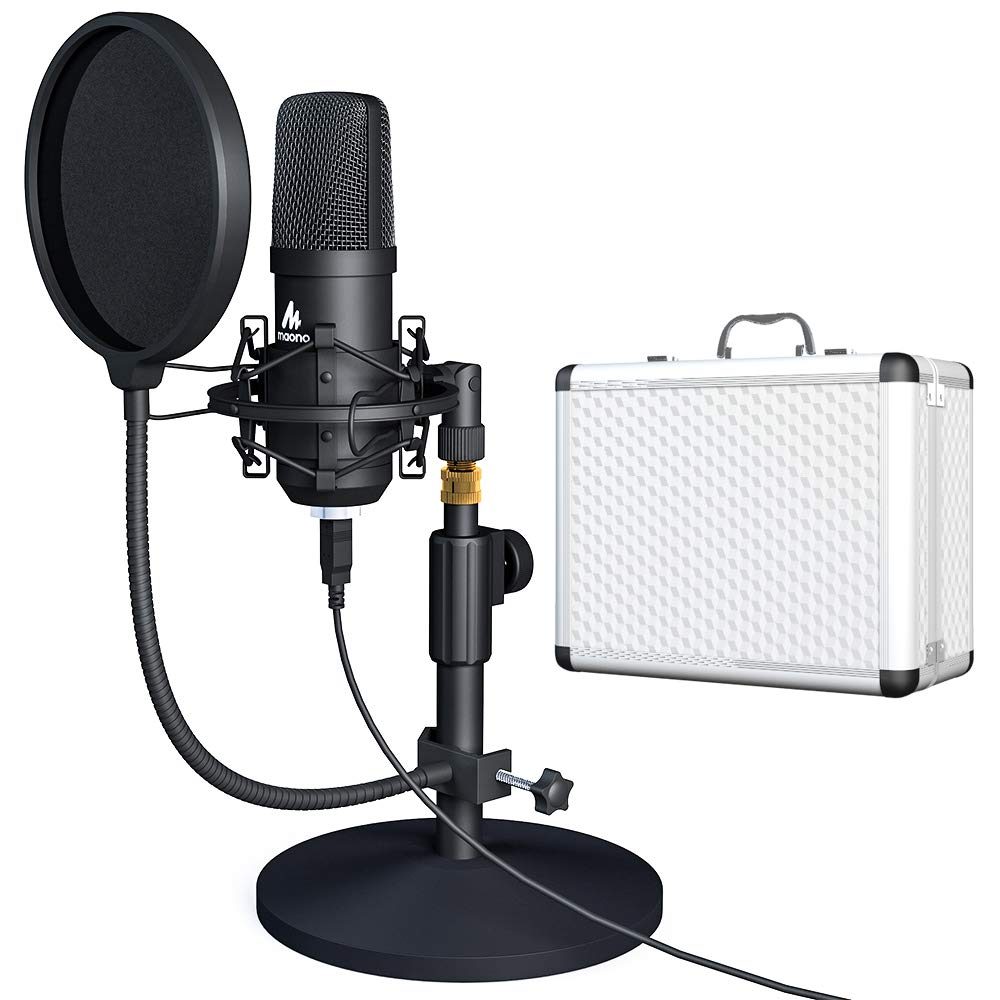 USB Microphone Kit 192KHZ/24BIT with Aluminum Organizer Storage Case MAONO AU-A04TC PC Condenser Podcast Streaming Cardioid Mic Plug & Play for Computer, YouTube, Gaming Recording by MAONO