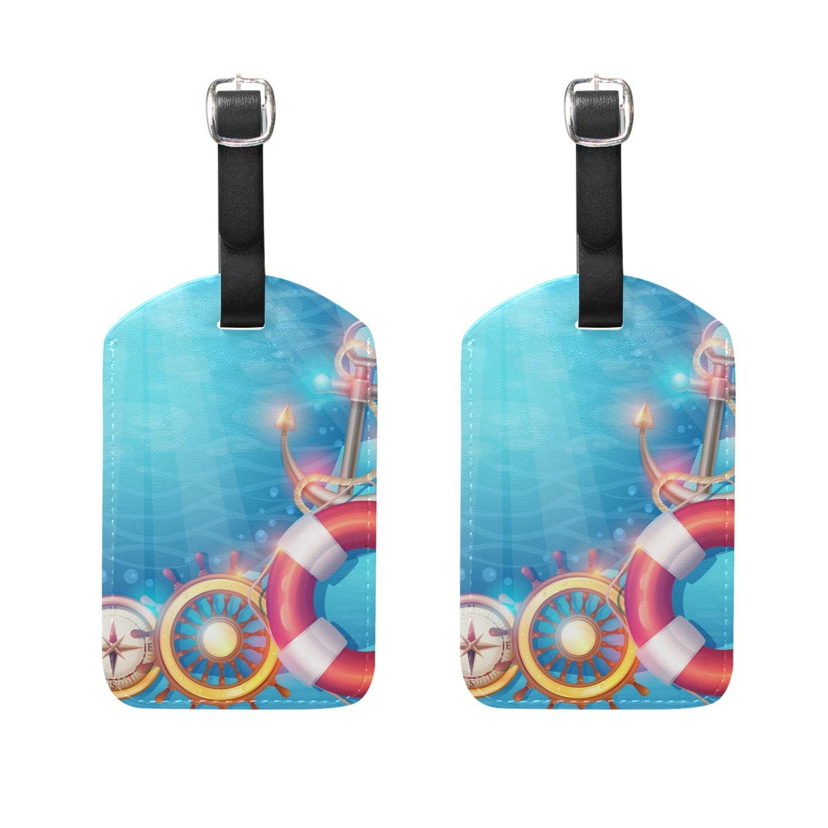 Nautical Elements Colorful Anchor Luggage Tag Travel ID Label Leather for Baggage Suitcase Set 2 Piece