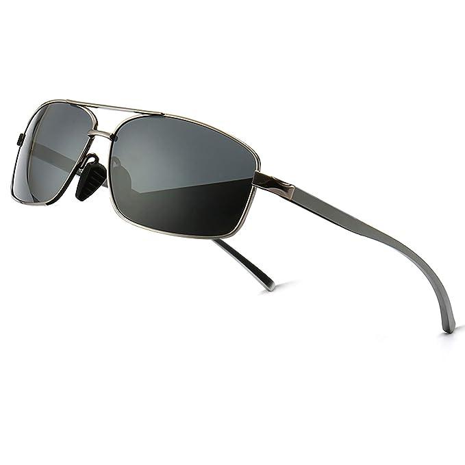 2283f24c0dc SUNGAIT Ultra Lightweight Rectangular Polarized Sunglasses 100% UV  protection (Gunmetal Frame Gray Lens