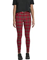 Urban Classics Ladies - TARTAN Skinny Pants red