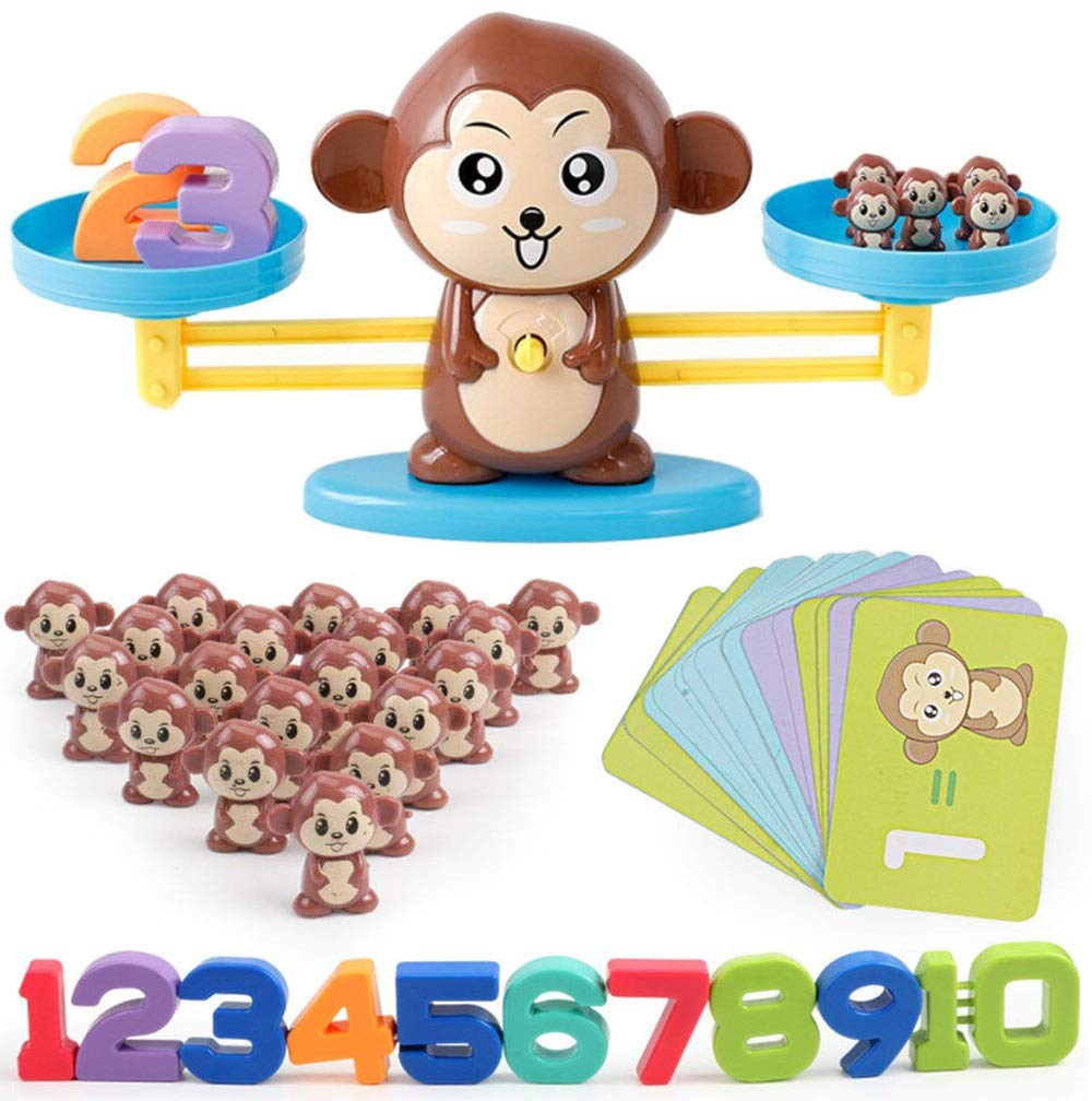 Monkey Number Balance Math Games Preschool Educational Toys Early Math Teaching Tool Counting Toy for Kids Learning Numbers, Basic Addition, Subtraction Kindergarten, Toddlers STEM Toy Math Balance by Cltoyvers