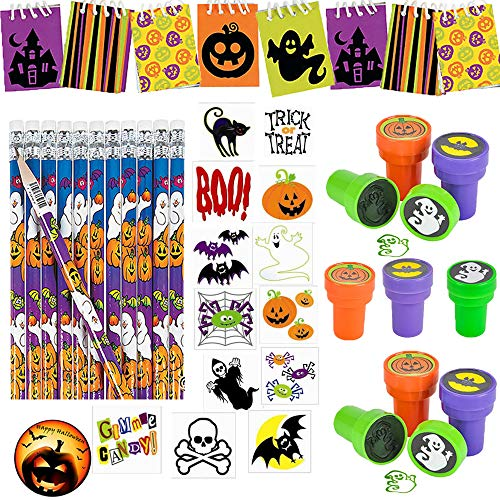 216 PIECE Halloween School Favor Pack for 24 Kids for Trick-or-Treat Gifts or Classroom Rewards with 24 Cute MINI Notepads, 24 Pencils, 24 Stampers, 120 Tattoos+ Bonus Halloween Pin by Another Dream! -
