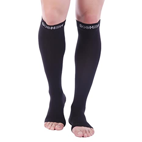 4952e1da9865be Doc Miller Premium Open Toe Compression Socks - 1 Pair 30-40 mmHg Women Men Knee  High Graduated Support Medical Grade Circulation Varicose Veins Recovery ...