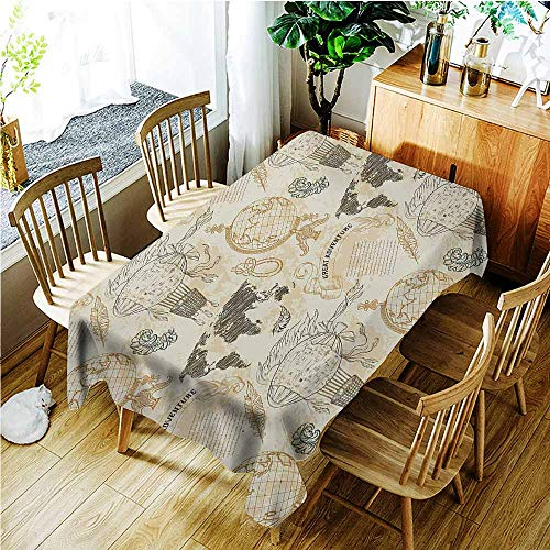 TT.HOME Custom Tablecloth,World Map Pattern with Vintage Globe World Map Airship Rope Knots Ribbon Retro Print,Table Cover for Kitchen Dinning Tabletop Decoratio,W52x70L,Beige Olive Green ()