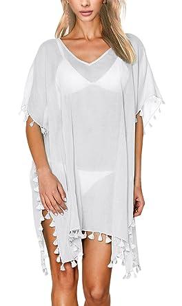 fe3b4fc0930c2 Women's Cover Up Beachwear Sexy Small Ball Tassels Solid Color Chiffon  Bikini Dress Swimsuit Bohemian(White): Amazon.co.uk: Clothing