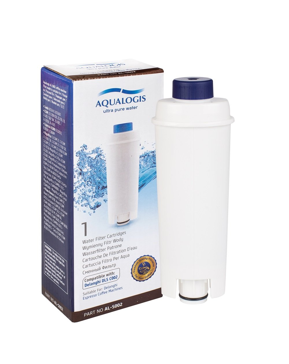 Aqualogis Water Filter Compatible with DeLonghi Espresso Coffee Machines, DLSC002