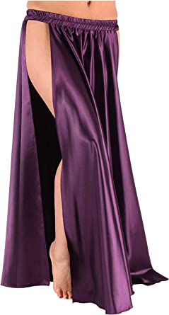 Belly Dance Costume Satin Skirt with Slits  USA  Fast Shipping FREE GIFT