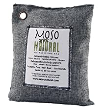 Moso Natural Air Purifying Bag. Odor Eliminator for Kitchens, Basements, Bedrooms, Living Areas. Charcoal Color, 500-G