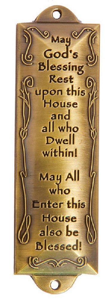 1 X Bless This House Brass Mezuzah with Hebrew Parchment in Gift Box & Placement Guide by Unbranded Holy Land Gifts 5105