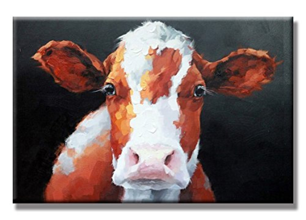 WALL ARTS Brown Cow Love Hand Painted Oil Painting with Stretched Frame Wall Art 24 x 36 Inch For Room