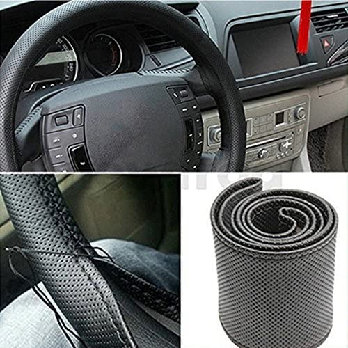Lumanuby 1Pcs DIY Steering Wheel Covers With Needles And Thread Color Black Soft Leather