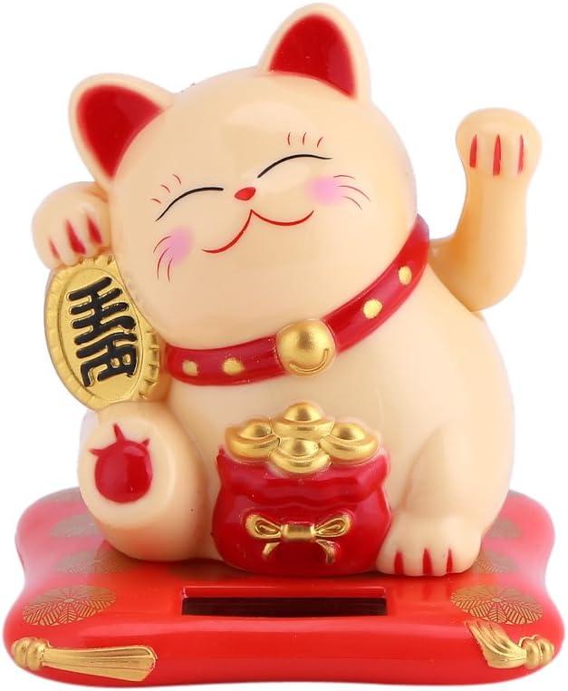 Yosoo - Gato decorativo solar - Atrae buena suerte - Decoración del hogar o la oficina - Regalo para niños por Navidad, cumpleaños - 7,6 x 7 x 6,5 cm