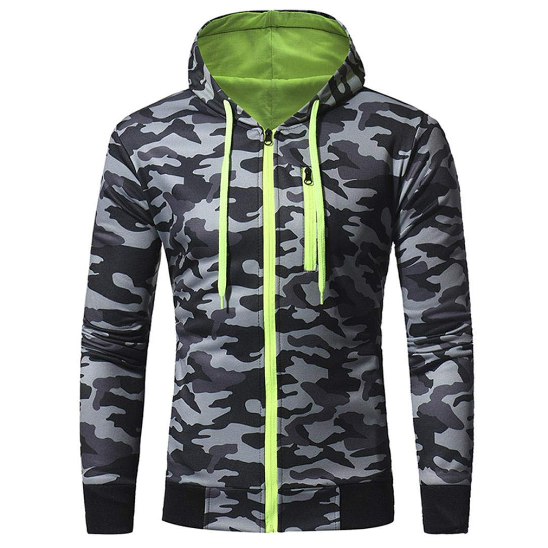 PASATO Mens' Autumn Winter Long Sleeve Splicing Camouflage Hooded Sweatshirt Tracksuits, Classic Clothes(Gray, L)