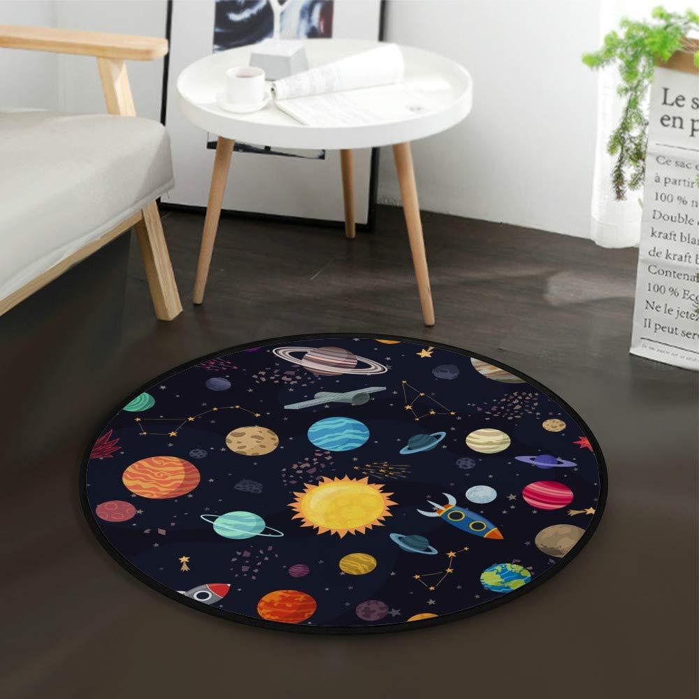 guarder/ía ligera suelo de yoga juegos Orediy Alfombra redonda de espuma suave de 92 cm con dise/ño de planetas espaciales para ni/ños para sala de estar o dormitorio