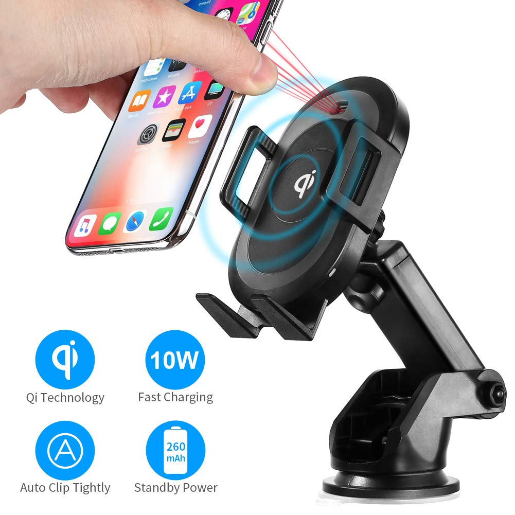 Prymax Wireless Car Charger Mount Phone Qi Automatic Induction Clamping 10W/7.5W/5W One-Touch Fast Power Rotation Sucker Bracket for iPhone x/xs/xs max/XR Samsung s10/s9/s8 All Qi-Enabled Smartphone