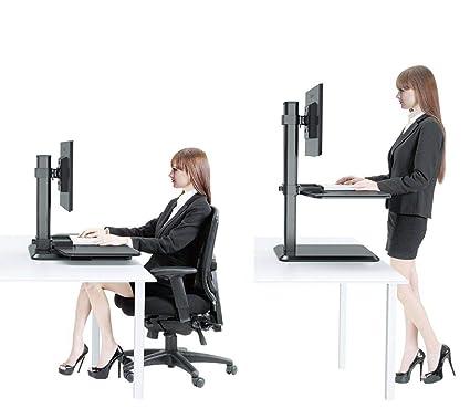Amazon Com Dual Ergonomic Monitor Stand Up Desk Riser Adjustable