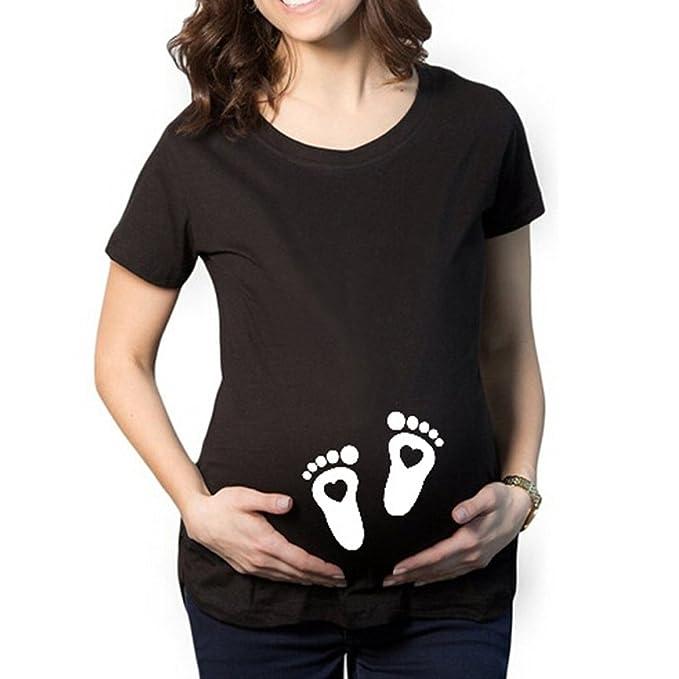 Embarazadas Camisetas De Manga Corta De Embarazo Divertidas Camisetas Lindas Mujeres: Amazon.es: Ropa y accesorios