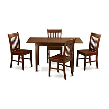 NOFK5-MAH-W 5 Pc small Kitchen Table set- Table with a 12in leaf and 4  Dining Chairs