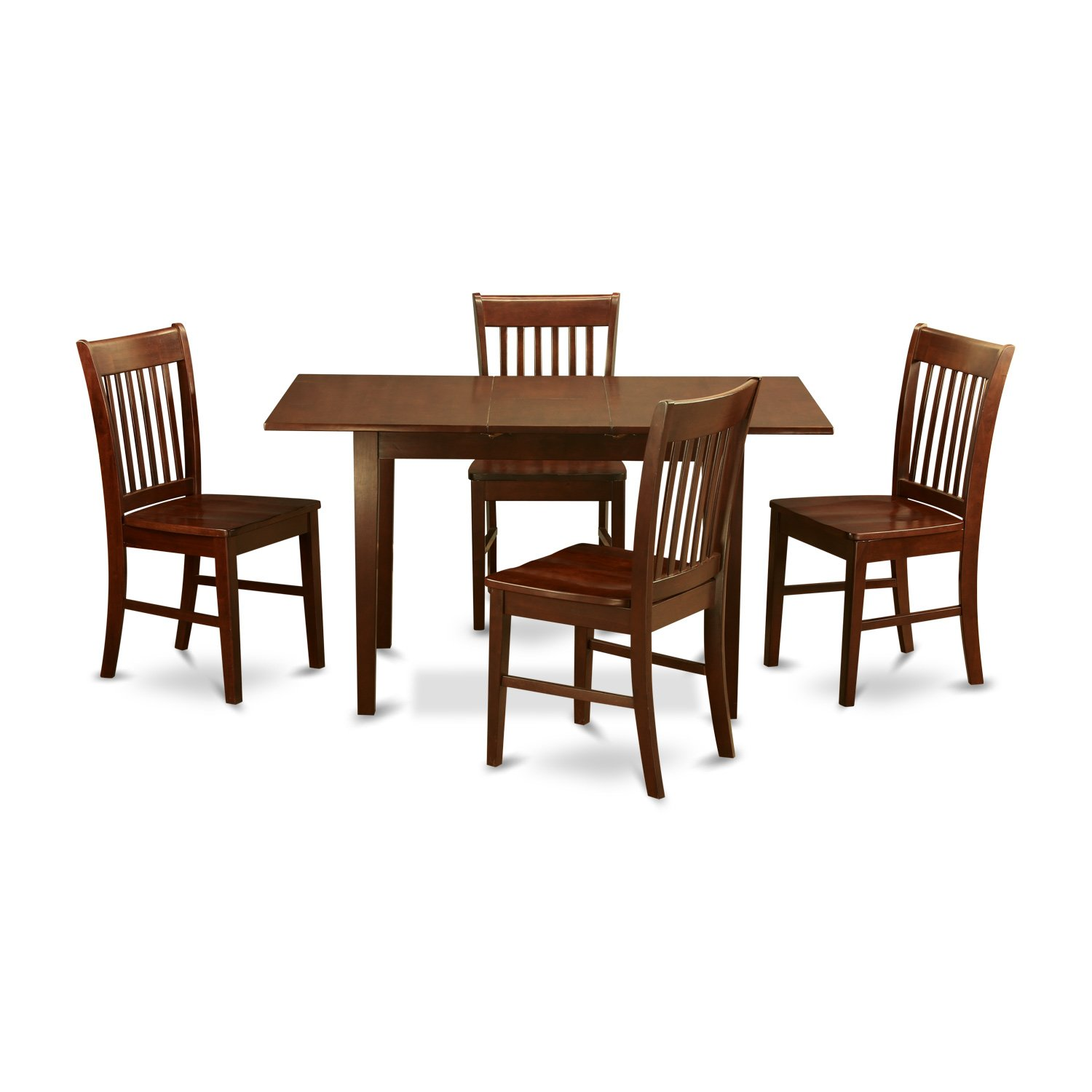 East West Furniture NOFK5-MAH-W 5-Piece Kitchen Table Set, Mahogany Finish