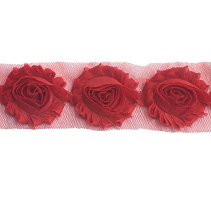 "1 yard hot pink 2.5/"" shabby chiffon rose trim flowers DIY baby headband"