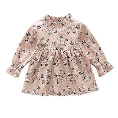 Xmiral Vestido para Niñas Bebés Estampado Flores Dress Manga Larga ...