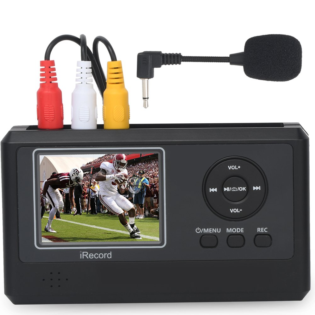 DIGITNOW!Personal Media&Digital Converter.Transferring Device to Capture Video from VCR's,VHS Tapes,Hi8,Camcorder,DVD,TV BOX and Gaming Systems,etc Via MIC&3.5mm AV in.Digitize Videos to Memory Card