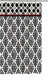 Faith Black White Fabric Shower Curtain: Fun and Elegant Geometric Floral Damask Design