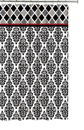 Faith Black White Fabric Shower Curtain: Fun and Elegant Geometric Floral Damask Design ()
