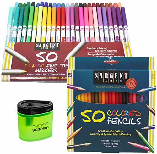 Sargent Markers & Colored Pencil Art Kit - Sargent Art 50 Fine Tip Markers, 50 Colored Pencils & Prismacolor Colored Pencil Sharpener Art Gift Set for Adult, Kids, Women & Men