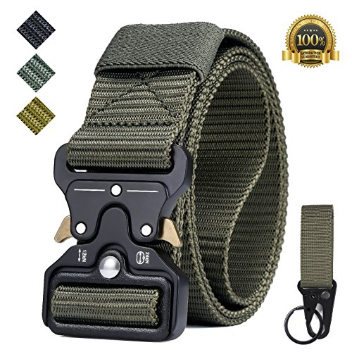 IWIVI 1.5 Inch Tactical Duty Belt Nylon Military Style Belt with Quick-Release Metal Buckle for EDC Molle Equipment (Army Green)